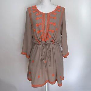 Esley Embroidered Dress Boho Waist Tie Size Medium